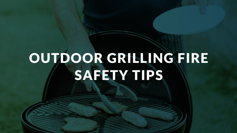 "Someone grilling food with text that says, ""Outdoor grilling fire safety tips."""