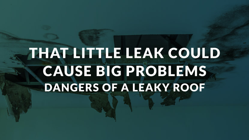 "Text that says, "" That little leak could cause a big problem. Dangers of a leaky roof."""