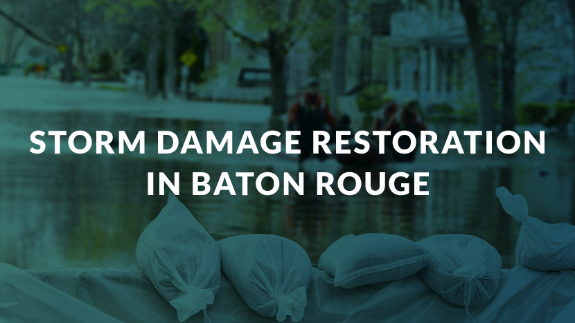 "Image of sandbags with text saying, ""Storm Damage Restoration in Baton Rouge."""