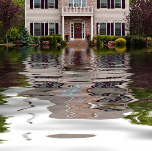 Flooding outside of a house